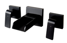 ALFI Black Matte Widespread Wall Mounted Modern Waterfall Bathroom Faucet