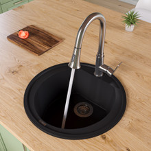 "ALFI AB2020DI-BLA Black 20"" Drop-In Round Granite Composite Kitchen Prep Sink"