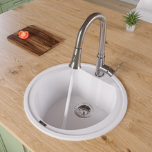 "ALFI AB2020DI-W White 20"" Drop-In Round Granite Composite Kitchen Prep Sink"