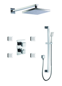 ALFI AB2287-PC Polished Chrome 3 Way Thermostatic Shower Set with Body Sprays