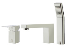 ALFI AB2322-PC Polished Chrome Deck Mounted Tub Filler and Square Hand Held Shower Head