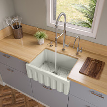 ALFI AB2418HS-B 24 inch Biscuit Reversible Smooth / Fluted Single Bowl Fireclay Farm Sink