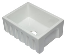 ALFI AB2418HS-W 24 inch White Reversible Smooth / Fluted Single Bowl Fireclay Farm Sink