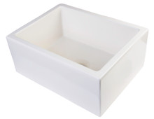 "ALFI AB2418SB-B 24"" Biscuit Smooth Thick Wall Fireclay Single Bowl Farm Sink"