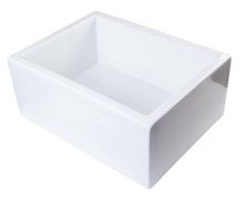 "ALFI AB2418SB-W 24"" White Smooth Thick Wall Fireclay Single Bowl Farm Sink"