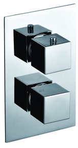 ALFI AB2601-PC Polished Chrome Square Knob 1 Way Thermostatic Shower Mixer