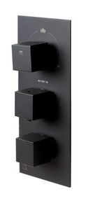 ALFI Black Matte 3-Way Thermostatic Valve Shower Mixer Square Knobs