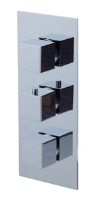 ALFI AB2801-PC Polished Chrome Concealed 3-Way Thermostatic Valve Shower Mixer Square Knobs