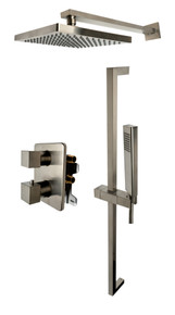 ALFI AB2830-BN Brushed Nickel 2 Way Thermostatic Square Shower Set