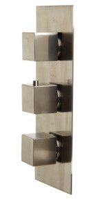 ALFI AB2901-BN Brushed Nickel Concealed 4-Way Thermostatic Valve Shower Mixer /w Square Knobs