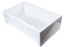 "ALFI AB3018ARCH-W 30"" White Arched Apron Thick Wall Fireclay Single Bowl Farm Sink"
