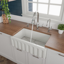 ALFI AB3018HS-W 30 inch White Reversible Smooth / Fluted Single Bowl Fireclay Farm Sink