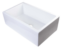 "ALFI AB3018SB-W 30"" White Smooth Apron Solid Thick Wall Fireclay Single Bowl Farm Sink"