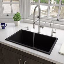 "ALFI Black Matte 30"" x 18"" Fireclay Undermount / Drop In Fireclay Kitchen Sink"