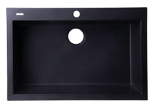 "ALFI AB3020DI-BLA Black 30"" Drop-In Single Bowl Granite Composite Kitchen Sink"