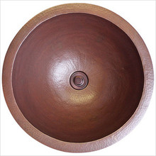 "Linkasink C002 PS Large Copper Drop In or Undermount Round Lav Sink 16"" X 8"" - Polished Stainless Steel"