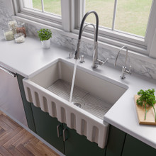 """ALFI AB3318HS-B Biscuit 33"""" x 18"""" Reversible Fluted / Smooth Fireclay Farm Sink"""