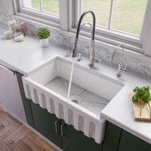 """ALFI AB3318HS-W White 33"""" x 18"""" Reversible Fluted / Smooth Single Bowl Fireclay Farm Sink"""