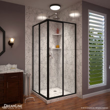 DreamLine Cornerview 40 1/2 in. D x 40 1/2 in. W x 72 in. H Framed Sliding Shower Enclosure in Satin Black