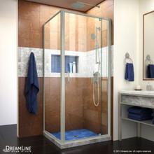 DreamLine Flex 34 1/2 in. D x 32-36 in. W x 72 in. H Semi-Frameless Pivot Shower Door in Brushed Nickel