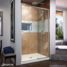 DreamLine Flex 32 in. D x 42 in. W x 74 3/4 in. H Semi-Frameless Shower Door in Brushed Nickel with Center Drain Biscuit Base Kit