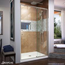 DreamLine Flex 34 in. D x 42 in. W x 74 3/4 in. H Semi-Frameless Shower Door in Brushed Nickel with Center Drain White Base Kit