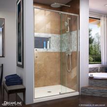 DreamLine Flex 34 in. D x 42 in. W x 74 3/4 in. H Semi-Frameless Shower Door in Brushed Nickel with Center Drain Biscuit Base Kit