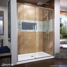 DreamLine Flex 30 in. D x 60 in. W x 74 3/4 in. H Semi-Frameless Shower Door in Brushed Nickel with Center Drain White Base Kit