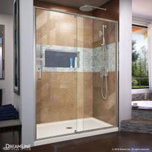 DreamLine Flex 30 in. D x 60 in. W x 74 3/4 in. H Semi-Frameless Shower Door in Brushed Nickel with Center Drain Biscuit Base Kit