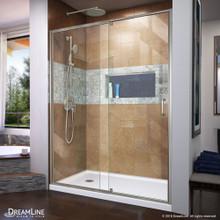 DreamLine Flex 30 in. D x 60 in. W x 74 3/4 in. H Semi-Frameless Shower Door in Brushed Nickel with Left Drain White Base Kit
