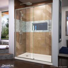 DreamLine Flex 30 in. D x 60 in. W x 74 3/4 in. H Semi-Frameless Shower Door in Brushed Nickel with Left Drain Biscuit Base Kit