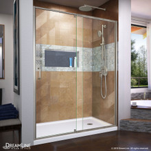 DreamLine Flex 30 in. D x 60 in. W x 74 3/4 in. H Semi-Frameless Shower Door in Brushed Nickel with Right Drain White Base Kit