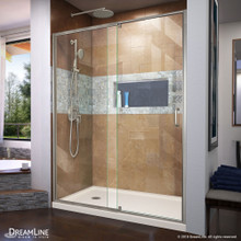 DreamLine Flex 32 in. D x 60 in. W x 74 3/4 in. H Semi-Frameless Shower Door in Brushed Nickel with Left Drain Biscuit Base Kit