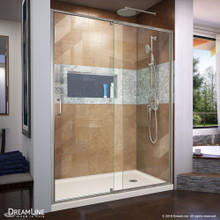 DreamLine Flex 34 in. D x 60 in. W x 74 3/4 in. H Semi-Frameless Shower Door in Brushed Nickel with Right Drain Biscuit Base Kit