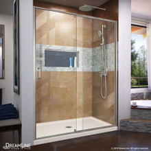 DreamLine Flex 36 in. D x 60 in. W x 74 3/4 in. H Semi-Frameless Shower Door in Brushed Nickel with Center Drain Biscuit Base Kit