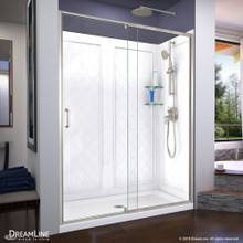 DreamLine Flex 34 in. D x 60 in. W x 76 3/4 in. H Semi-Frameless Shower Door in Brushed Nickel with Center Drain Base, Backwalls