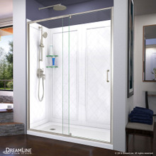 DreamLine Flex 34 in. D x 60 in. W x 76 3/4 in. H Semi-Frameless Shower Door in Brushed Nickel with Left Drain Base and Backwalls