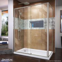 DreamLine Flex 36 in. D x 60 in. W x 74 3/4 in. H Semi-Frameless Shower Enclosure in Brushed Nickel with Left Drain White Base Kit