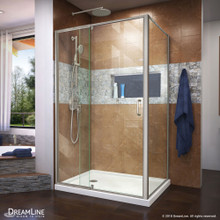 DreamLine Flex 36 in. D x 48 in. W x 74 3/4 in. H Semi-Frameless Shower Enclosure in Brushed Nickel with Left Drain White Base Kit