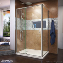 DreamLine Flex 36 in. D x 48 in. W x 74 3/4 in. H Semi-Frameless Shower Enclosure in Brushed Nickel with Left Drain Biscuit Base