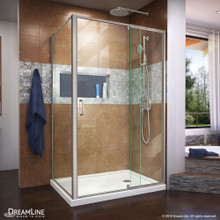 DreamLine Flex 36 in. D x 48 in. W x 74 3/4 in. H Semi-Frameless Shower Enclosure in Brushed Nickel with Right Drain White Base