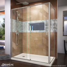 DreamLine Flex 36 in. D x 60 in. W x 74 3/4 in. H Semi-Frameless Shower Enclosure in Brushed Nickel with Left Drain Biscuit Base