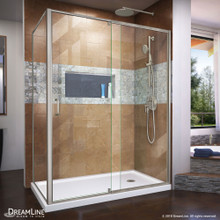 DreamLine Flex 36 in. D x 60 in. W x 74 3/4 in. H Semi-Frameless Shower Enclosure in Brushed Nickel with Right Drain White Base