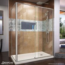 DreamLine Flex 36 in. D x 60 in. W x 74 3/4 in. H Semi-Frameless Shower Enclosure in Brushed Nickel with Right Drain Biscuit Base