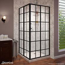 DreamLine French Corner 40 1/2 in. D x 40 1/2 in. W x 72 in. H Framed Sliding Shower Enclosure in Satin Black