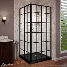 DreamLine French Corner 42 in. D x 42 in. W x 74 3/4 in. H Framed Sliding Shower Enclosure in Satin Black and Black Acrylic Base