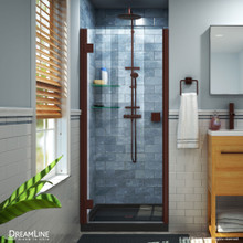 DreamLine Lumen 32 in. D x 42 in. W by 74 3/4 in. H Hinged Shower Door in Oil Rubbed Bronze with Black Acrylic Base Kit