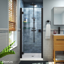 DreamLine Lumen 34 in. D x 42 in. W by 74 3/4 in. H Hinged Shower Door in Satin Black with White Acrylic Base Kit