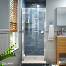 DreamLine Lumen 34 in. D x 42 in. W by 74 3/4 in. H Hinged Shower Door in Chrome with Biscuit Acrylic Base Kit