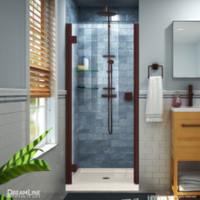 DreamLine Lumen 34 in. D x 42 in. W by 74 3/4 in. H Hinged Shower Door in Oil Rubbed Bronze with Biscuit Acrylic Base Kit